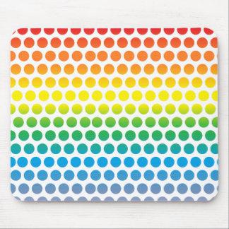 Rainbow Polka Dots White Mouse Pad