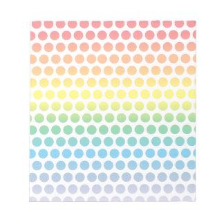 Rainbow Polka Dots White Notepad