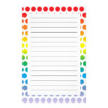 Rainbow Polka Dots White Personalized Stationery