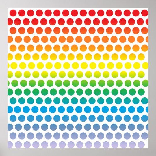 Rainbow Polka Dots White Poster