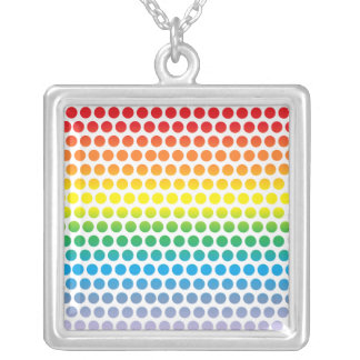 Rainbow Polka Dots White Silver Plated Necklace