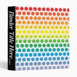 Rainbow Polka Dots White Vinyl Binder