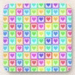 Rainbow PolkaDot Heart Pattern Beverage Coasters