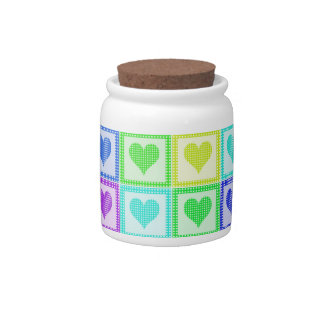 Rainbow PolkaDot Heart Pattern Candy Dish