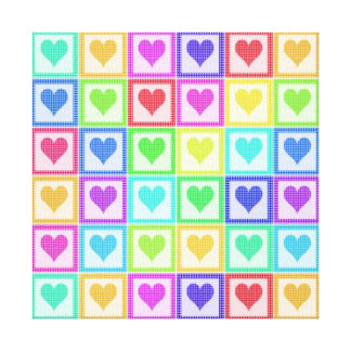 Rainbow PolkaDot Heart Pattern Canvas Print