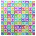 Rainbow PolkaDot Heart Pattern Printed Napkins