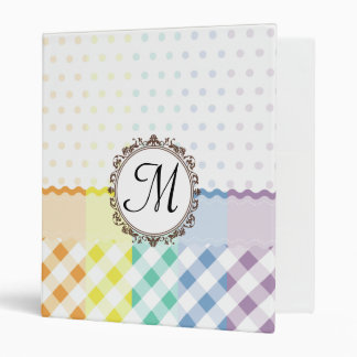 Rainbow Polkadots Checks and Stripes with Monogram 3 Ring Binder