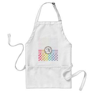 Rainbow Polkadots Checks and Stripes with Monogram Adult Apron