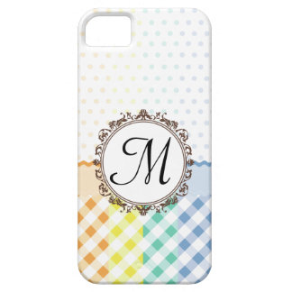 Rainbow Polkadots Checks and Stripes with Monogram iPhone 5 Case