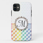 Rainbow Polkadots Checks and Stripes with Monogram iPhone 11 Case