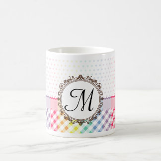 Rainbow Polkadots Checks and Stripes with Monogram Classic White Coffee Mug
