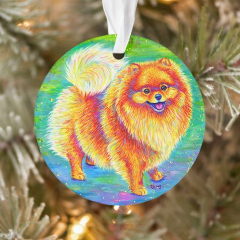 Rainbow Pomeranian Cute Dog Acrylic Ornament