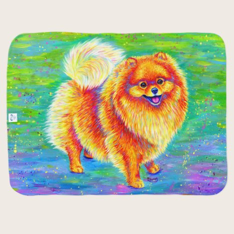 Rainbow Pomeranian Cute Dog Baby Blanket