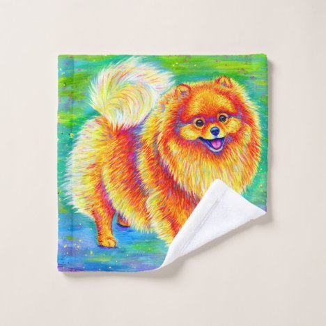 Rainbow Pomeranian Cute Dog Bath Towel Set