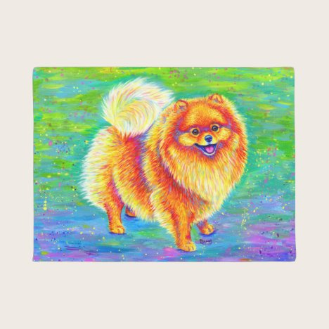 Rainbow Pomeranian Cute Dog Door Mat