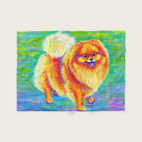Rainbow Pomeranian Cute Dog Fleece Blanket