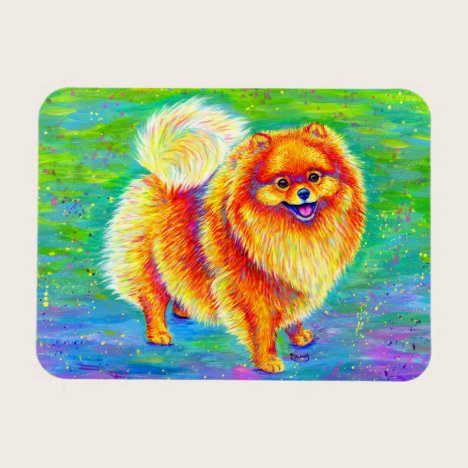 Rainbow Pomeranian Cute Dog Flexible Magnet