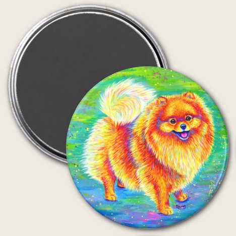 Rainbow Pomeranian Cute Dog Magnet