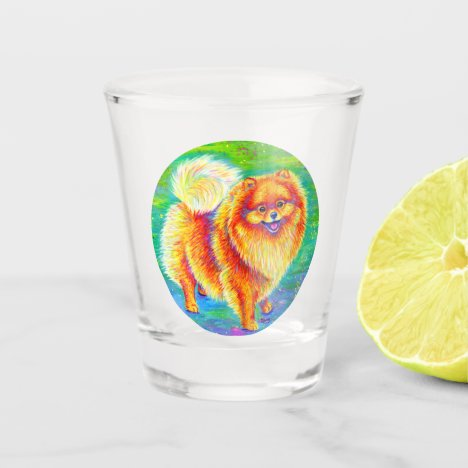 Rainbow Pomeranian Cute Dog Shot Glass