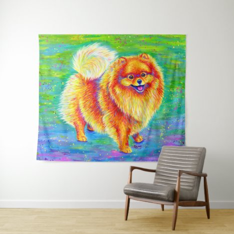 Rainbow Pomeranian Cute Dog Tapestry