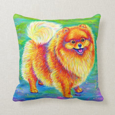Rainbow Pomeranian Cute Dog Throw Pillow