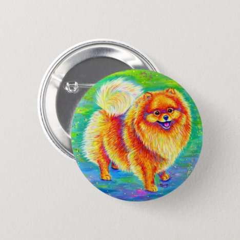 Rainbow Pomeranian Cute Pom Dog Button