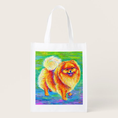 Rainbow Pomeranian Dog Reusable Grocery Bag