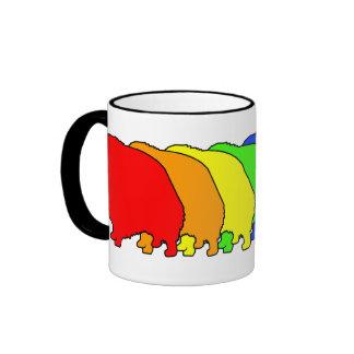Rainbow Pomeranian Ringer Coffee Mug