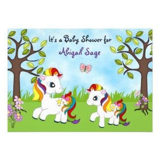 Rainbow Ponies Horse Baby Shower Invites- Girls