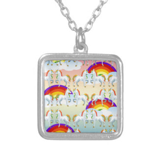 Rainbow pony silver plated necklace