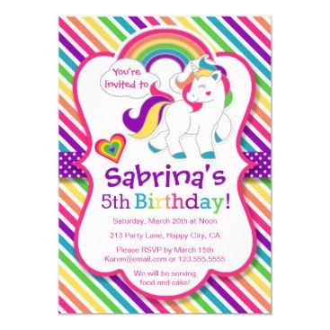 tictactogs Rainbow Pony Unicorn Birthday Party Invitation