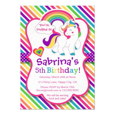 My Little Pony Birthday Party Card – Unicorn Birthday Party Invitations