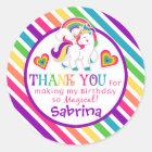 Rainbow Pony Unicorn Birthday Thank You Stickers