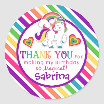 tictactogs Rainbow Pony Unicorn Birthday Thank You Stickers