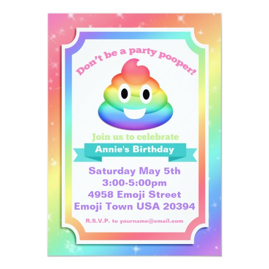 Rainbow Poop Emoji Birthday Invitation