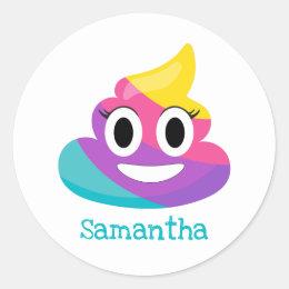 Rainbow Poop Emoji Classic Round Sticker