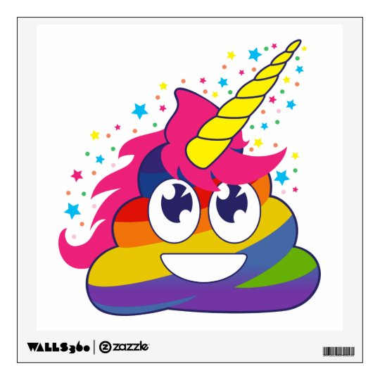 Rainbow Poop Unicorn Emoji Wall Decal