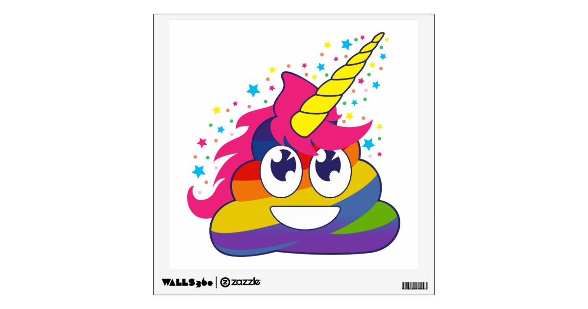 Emoji Wall Art rainbow poop unicorn emoji wall decal | zazzle