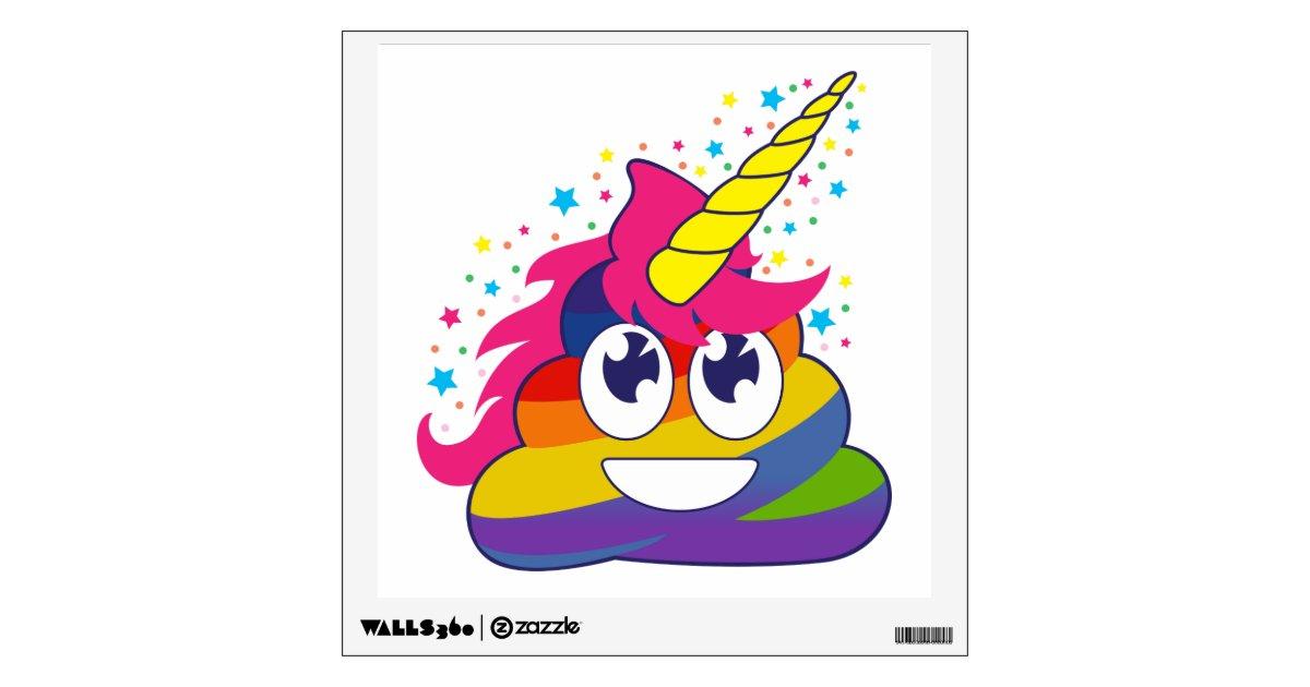 Rainbow Poop Unicorn Emoji Wall Decal Zazzle Com