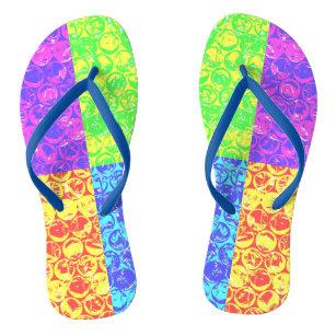 4851f038f10961 Rainbow pop art bubble wrap flip flops