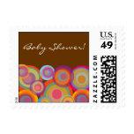 Rainbow Pop Circles Baby Shower Invitation Stamps