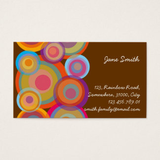 Rainbow Pop Circles Colorful Retro Fun Groovy Chic Business Card