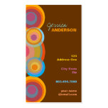 Rainbow Pop Circles Colorful Retro Fun Groovy Chic Business Cards