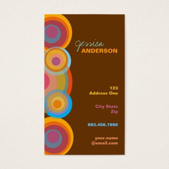 Rainbow Pop Circles Colorful Retro Fun Groovy Chic Business Card