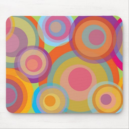 Rainbow Pop Circles Colorful Retro Fun Groovy Chic Mouse Pad
