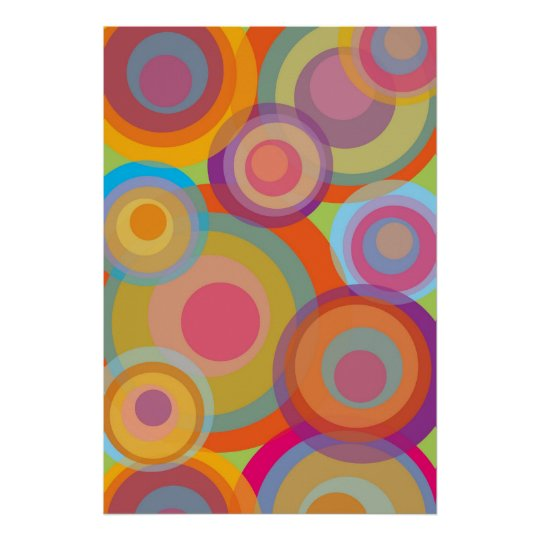 Rainbow Pop Circles Colorful Retro Fun Groovy Chic Poster