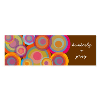 Rainbow Pop Circles Fun Groovy Thank You Gift Tag Mini Business Card