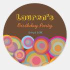 Rainbow Pop Circles Fun Groovy Thank You Sticker