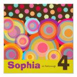 "Rainbow Pop Circles Kids Birthday Party Invitation 5.25"" Square Invitation Card"