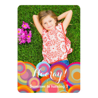 Rainbow Pop Circles Kids Birthday Party Photo Personalized Invitation